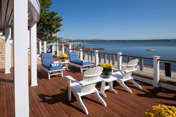 white beach deck chairs