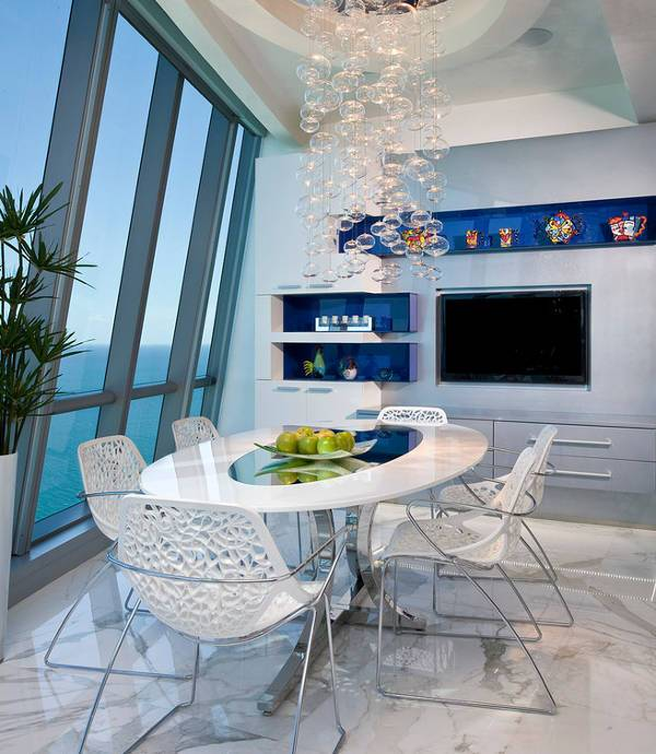 white dining chairs idea - Blue And White Dining Chairs