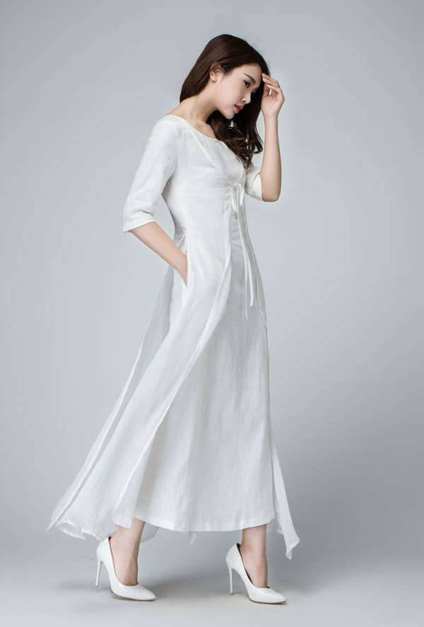 white long maxi linen dress
