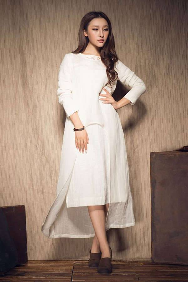 white winter linen dress