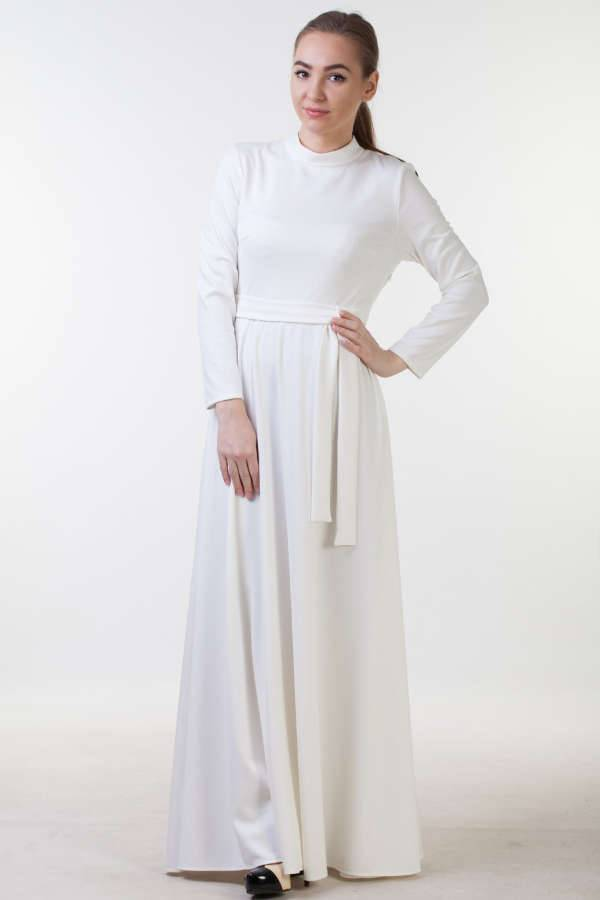 white winter long dress