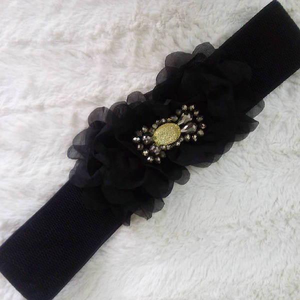 womens black stretch belt