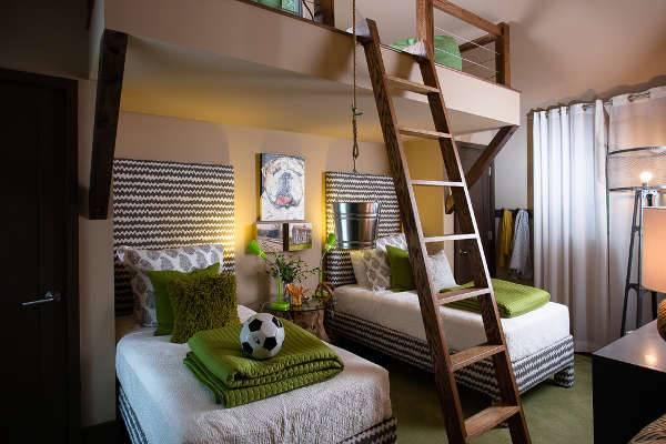 wood double kids bedroom furniture