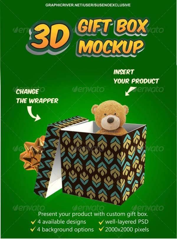 3D Gift Box Mockup