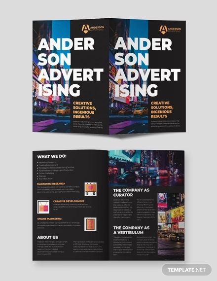 advertising agency bi fold brochure template