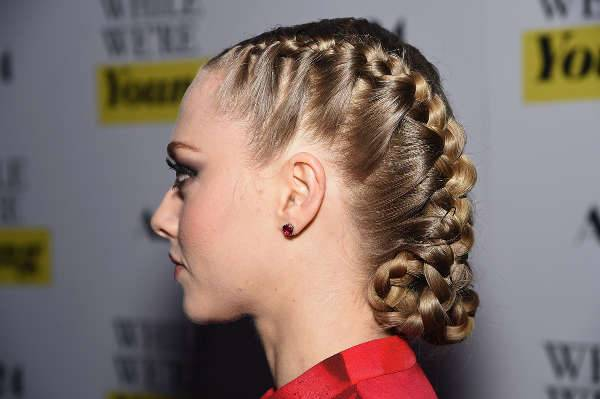 amanda seyfried french braid updo hairstyle