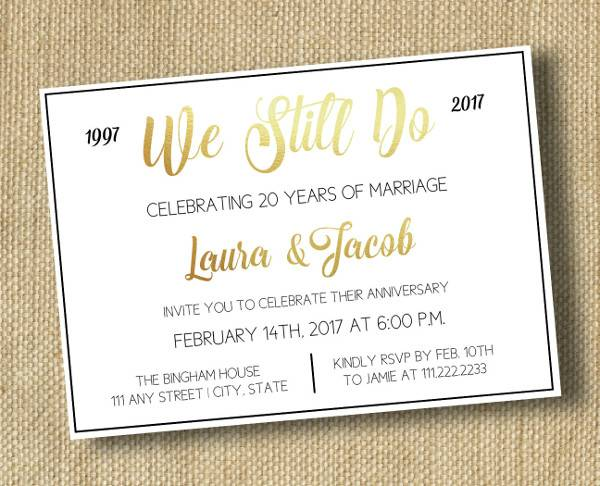 Anniversary Party Invitation Card