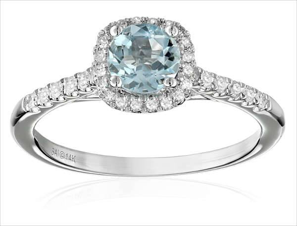 Aquamarine Diamond Engagement Ring