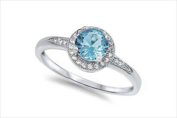 Aquamarine Halo Engagement Ring