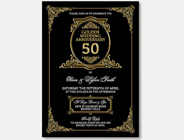 Art Deco Wedding Anniversary Invitation