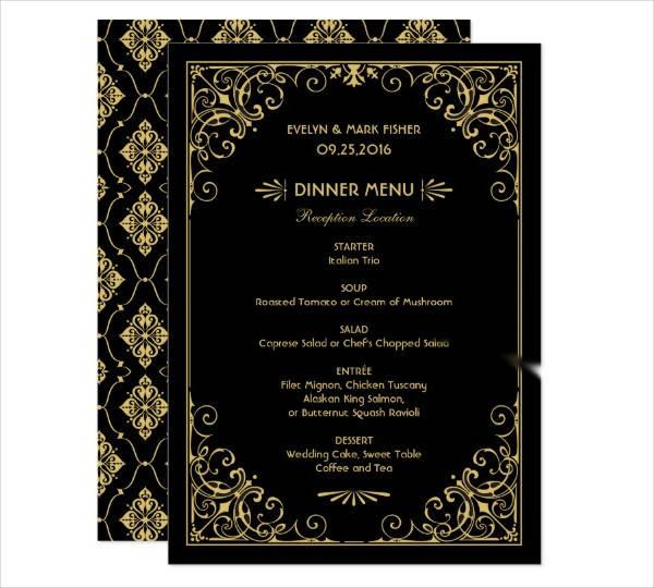 art deco wedding menu card