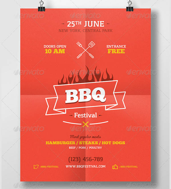 bbq food party event poster