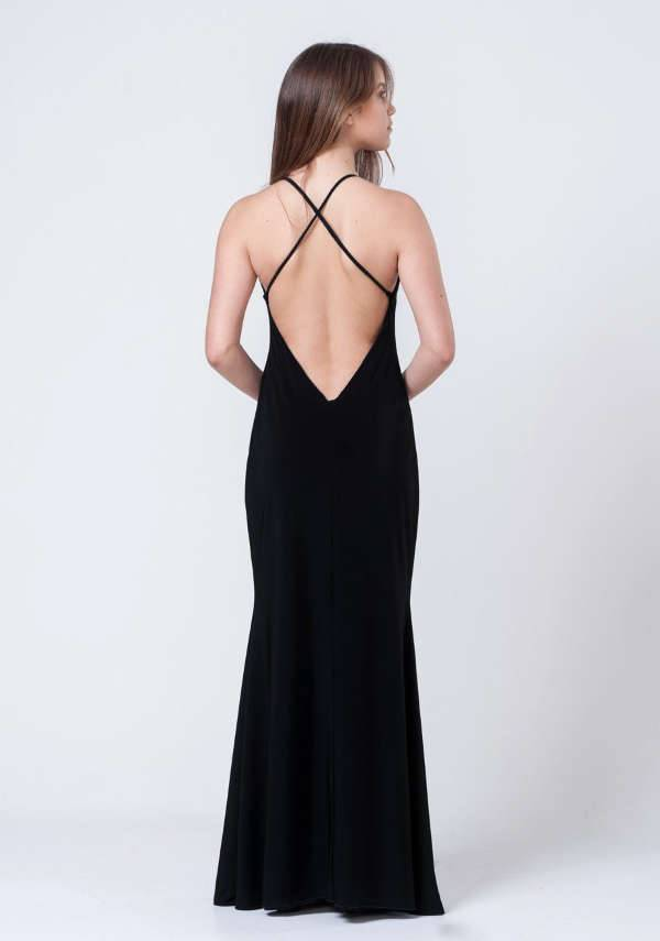 Backless Black Prom Dress