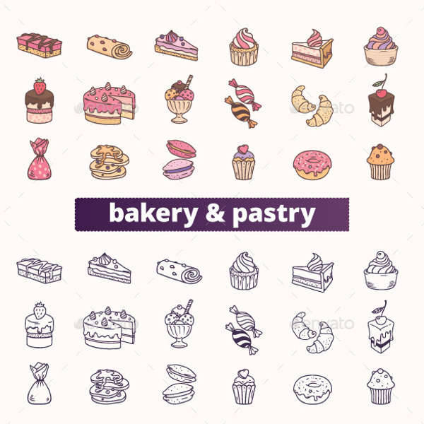 bakery pastry icons