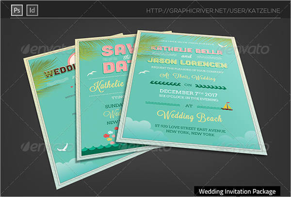 Beach Wedding Ceremony Invitation Package