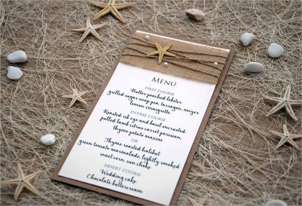 beach wedding shower menu