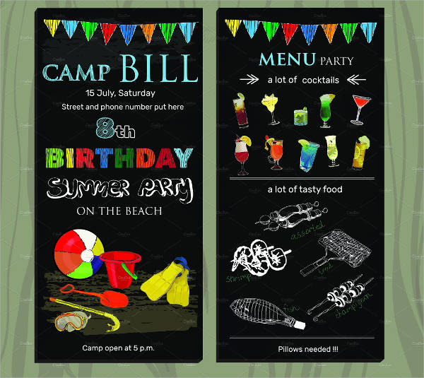 birthday menu invitation card