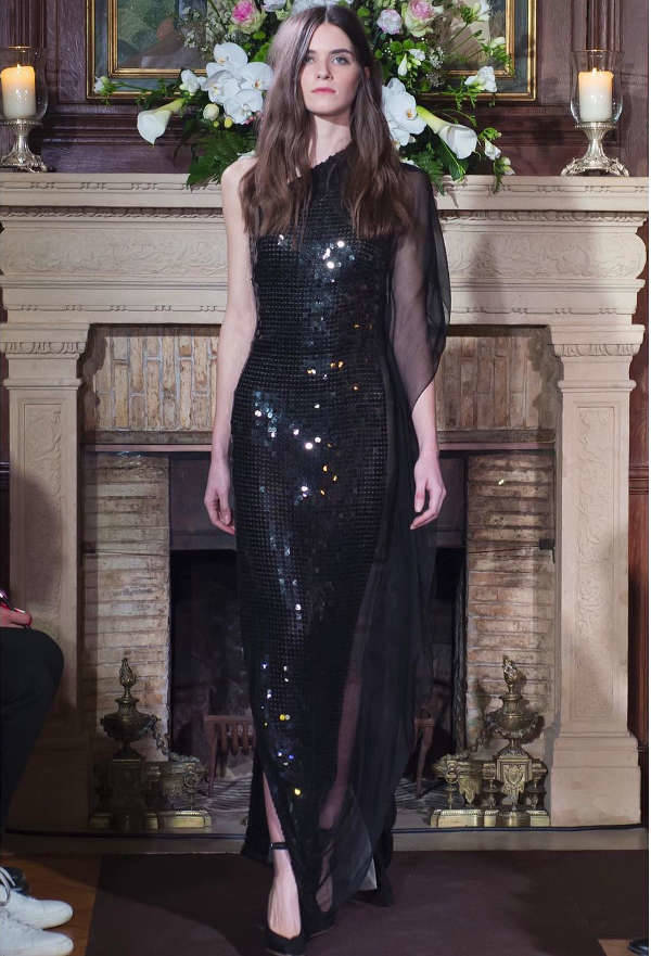 black sequin prom dress