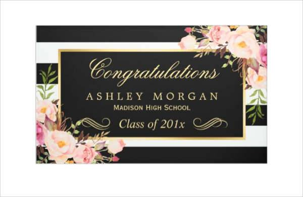 Black and White Floral Decor Graduation Party Banner