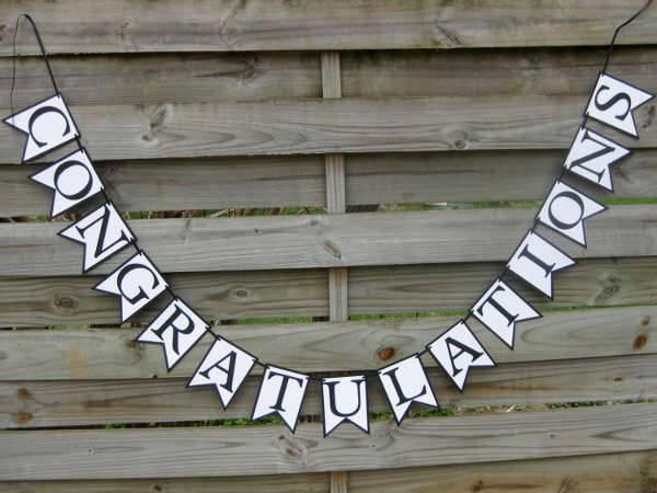 Black and White Graduation Congratulations Banner