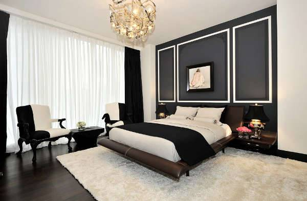 black and white modern bedroom idea