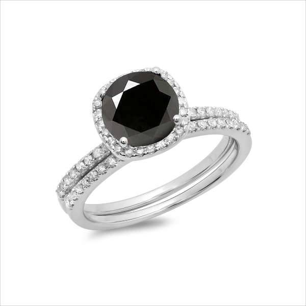 black and white engagement ring