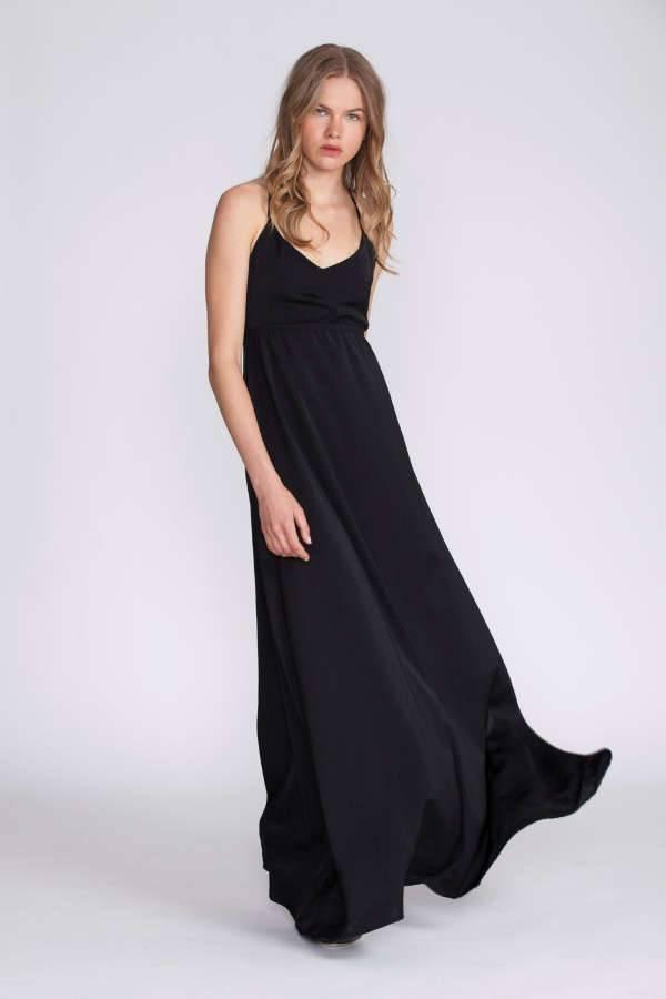 black v neck bridesmaid dresses