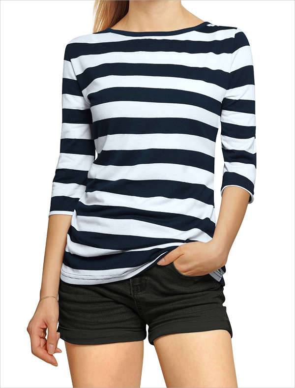 Blue and White Striped T Shirt