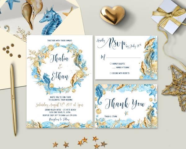 Boho Beach Wedding Invitation