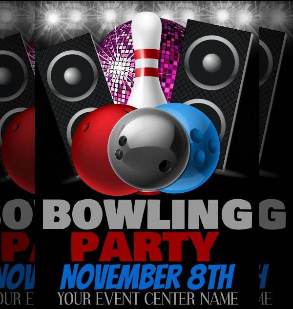 bowling party event poster