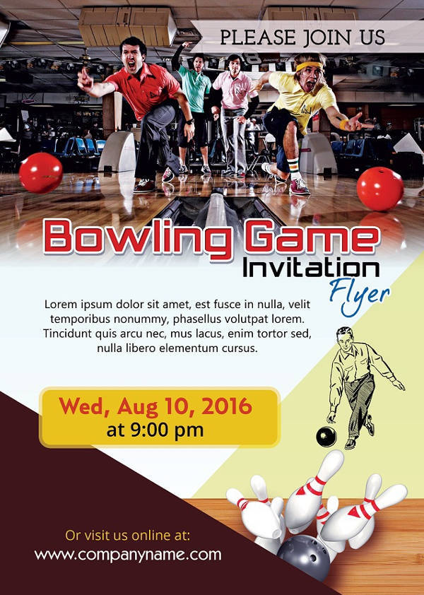 Bowling Sports Invitation Flyer