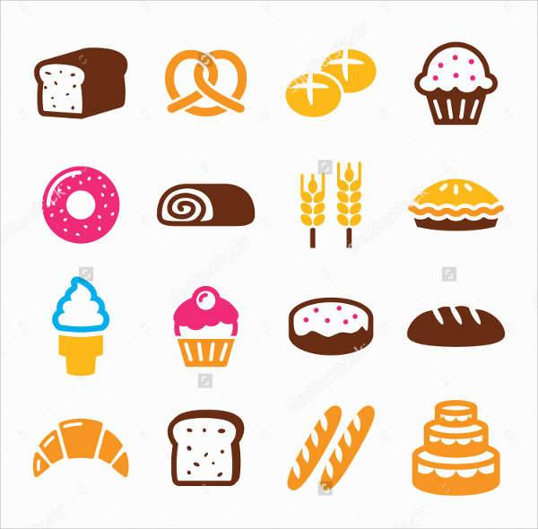 bread and bakery icons