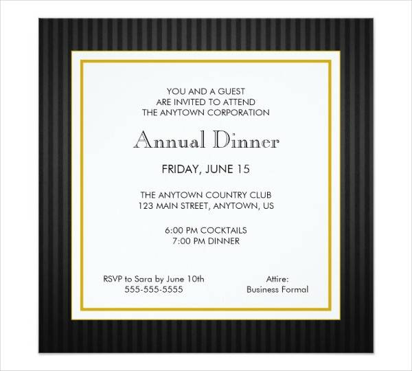 Business Dinner Invitation Card