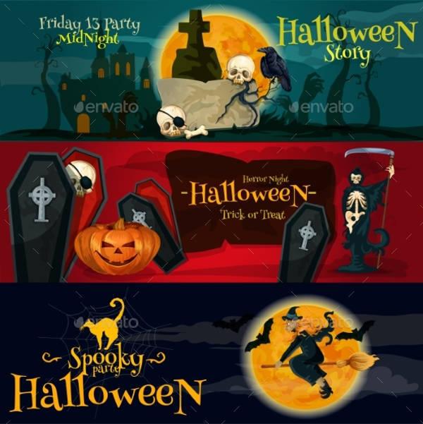 cartoon halloween party banner