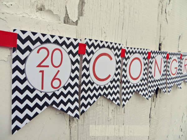 Chevron Graduation Party Banner