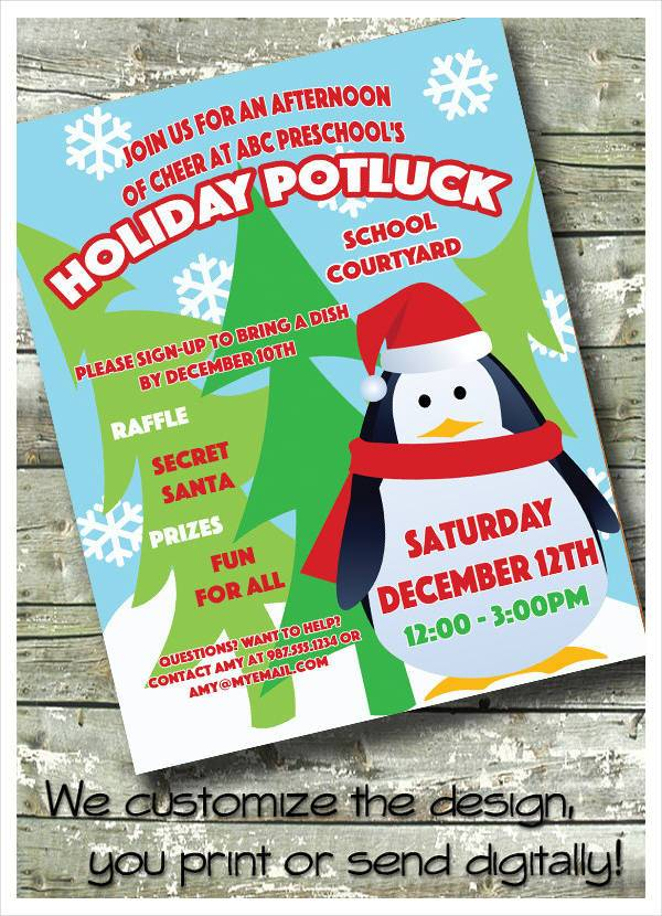 Children Christmas Holiday Potluck Invitation Flyer