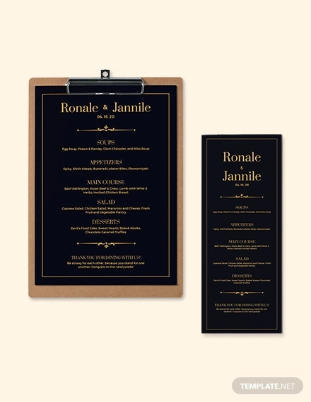 classy classic wedding menu template