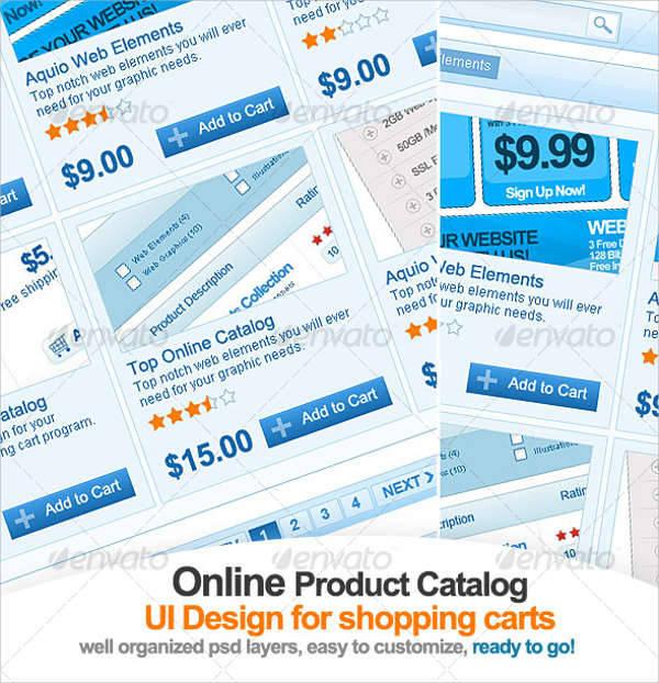 clean online catalog ui design