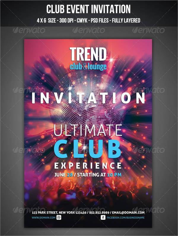 Club Event Invitation Card