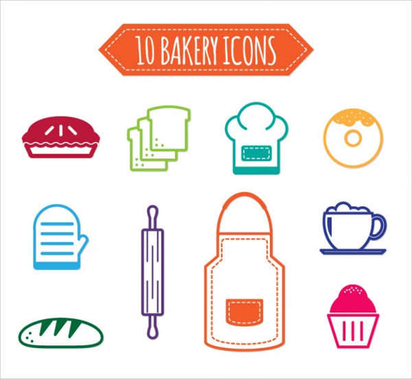 Colorful Bakery Vector Icons
