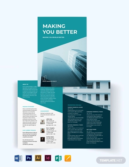 commercial lease real estate bi fold brochure template