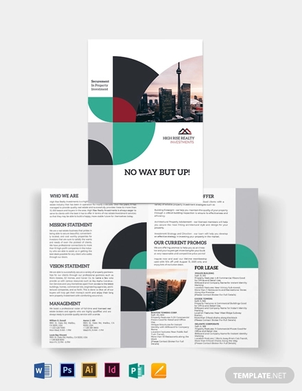 commercial real estate investor bi fold brochure template