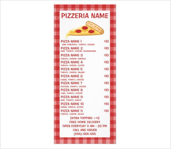 cool pizza party menu