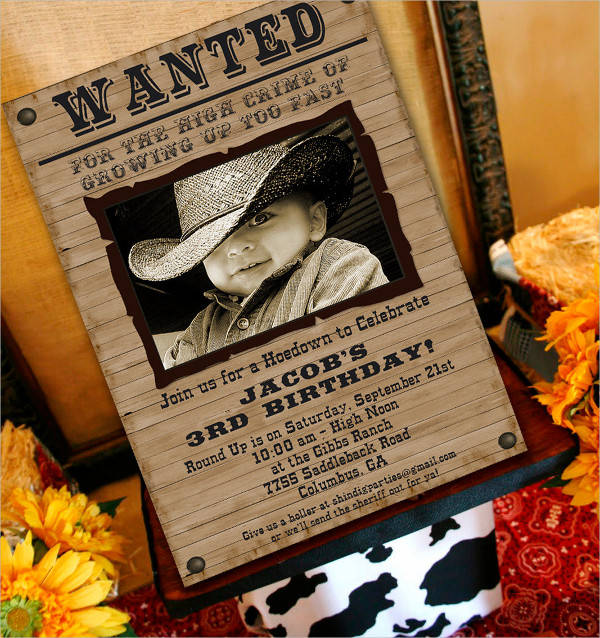 cowboy party wanted poster