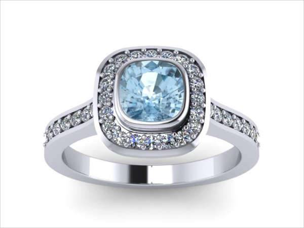 Cusion Cut Aquamarine Engagement Ring