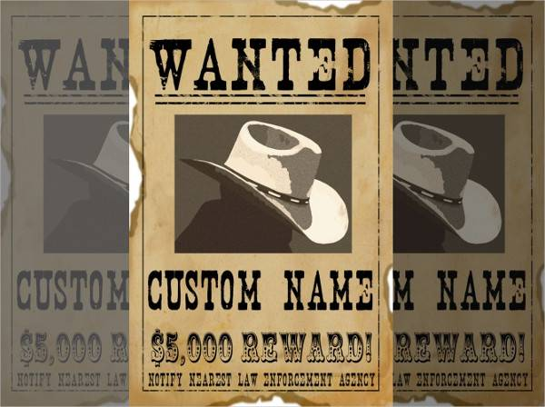 custom personalised wanted poster