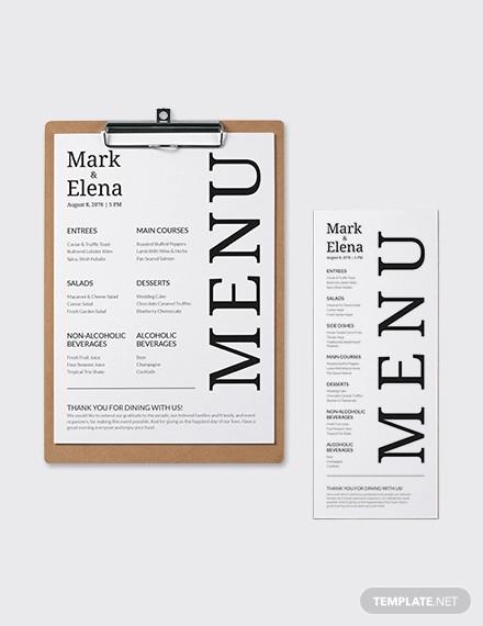 custom wedding menu template