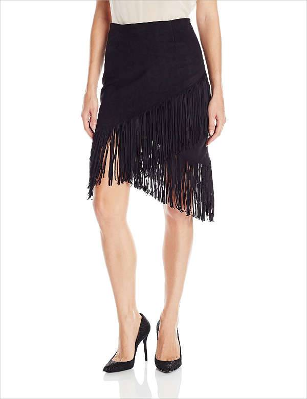 Designer Black Fringe Skirt