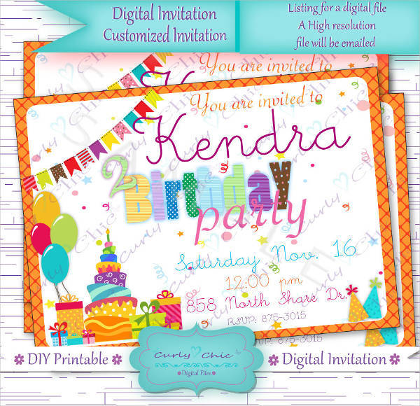 Digital Happy Birthday Invitation
