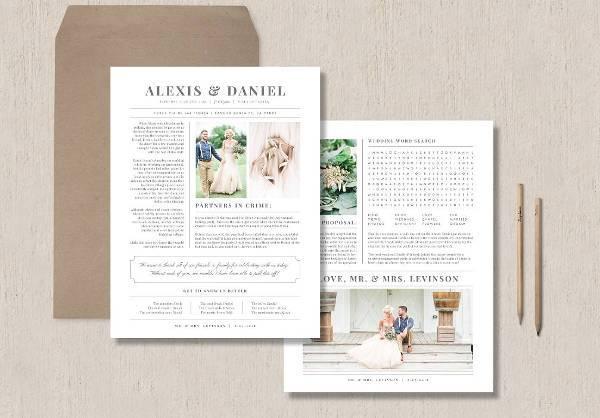 Digital Wedding Newspaper Template PSD